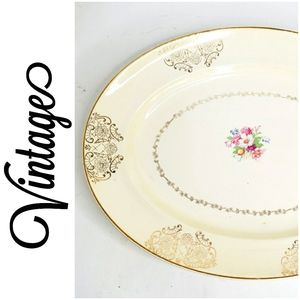 Vintage china platter with gold trim